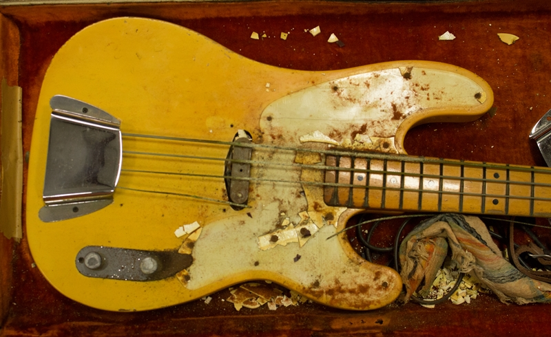 1968 Telecaster Bass Before Restoration - Pickguard plastic out-gassing