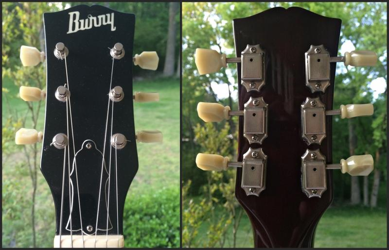 Vintage 1980s 1970s Burny Les Paul headstock