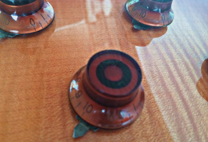 Vintage 1980s 1970s Burny Les Paul Amber Knobs