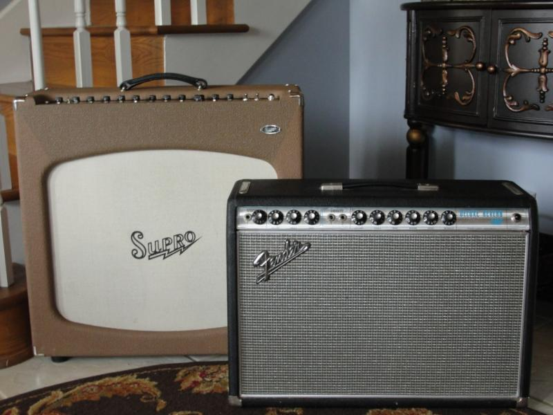 "The rare and fabled 1967 drip-edge Fender Deluxe Reverb (the blackface that isn't), and the equally rare and fabled Bruce Zinky ""Supro"" Tremolectric (the VibroKing that isn't)"